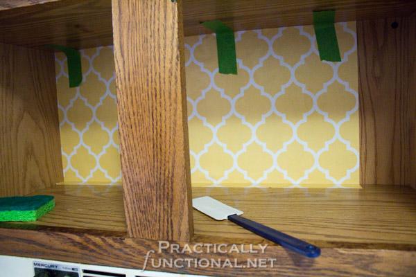bottom corner wallpaper strip rental friendly kitchen update wallpaper cabinets