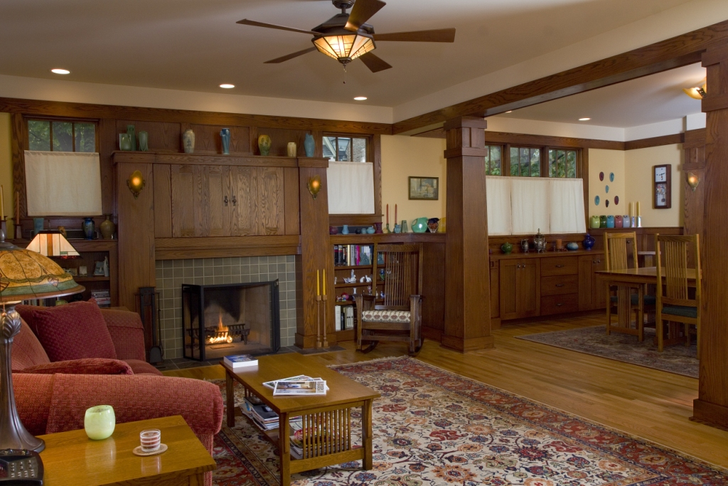 New Craftsman Bungalow living room PrairieArchitect - craftsman living room