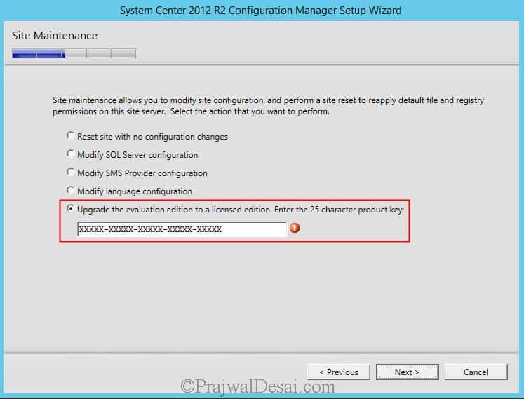 Convert SCCM 2012 R2 Evaluation Mode to Licensed Version