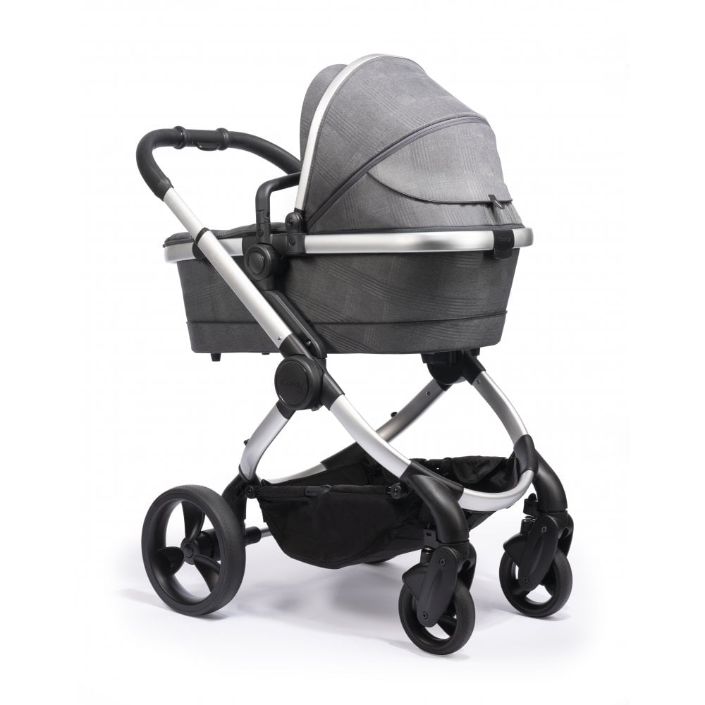 Luxury Double Pushchair Icandy Peach 3in1 Satin Chassis Dark Grey Check Prams