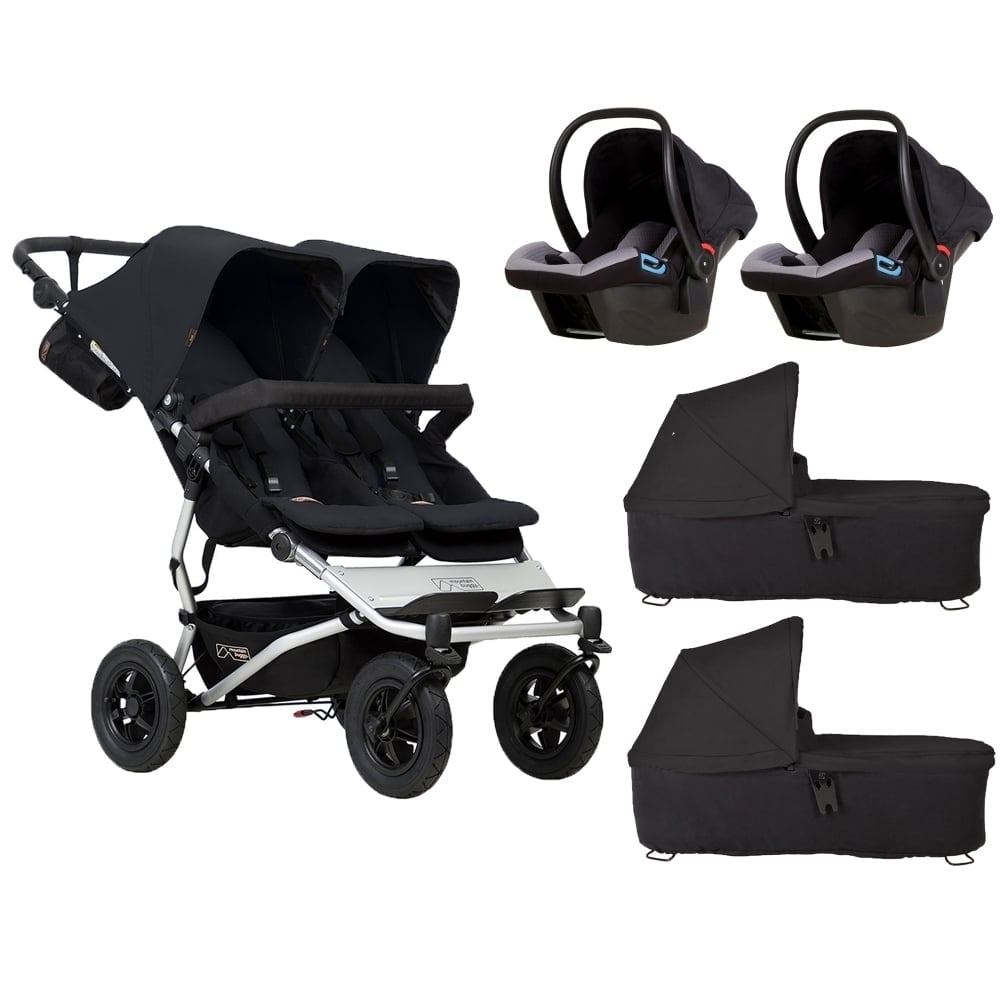 Pram Extra Seat Mountain Buggy Duet 2 Carrycots 2 Protect Car Seats Black