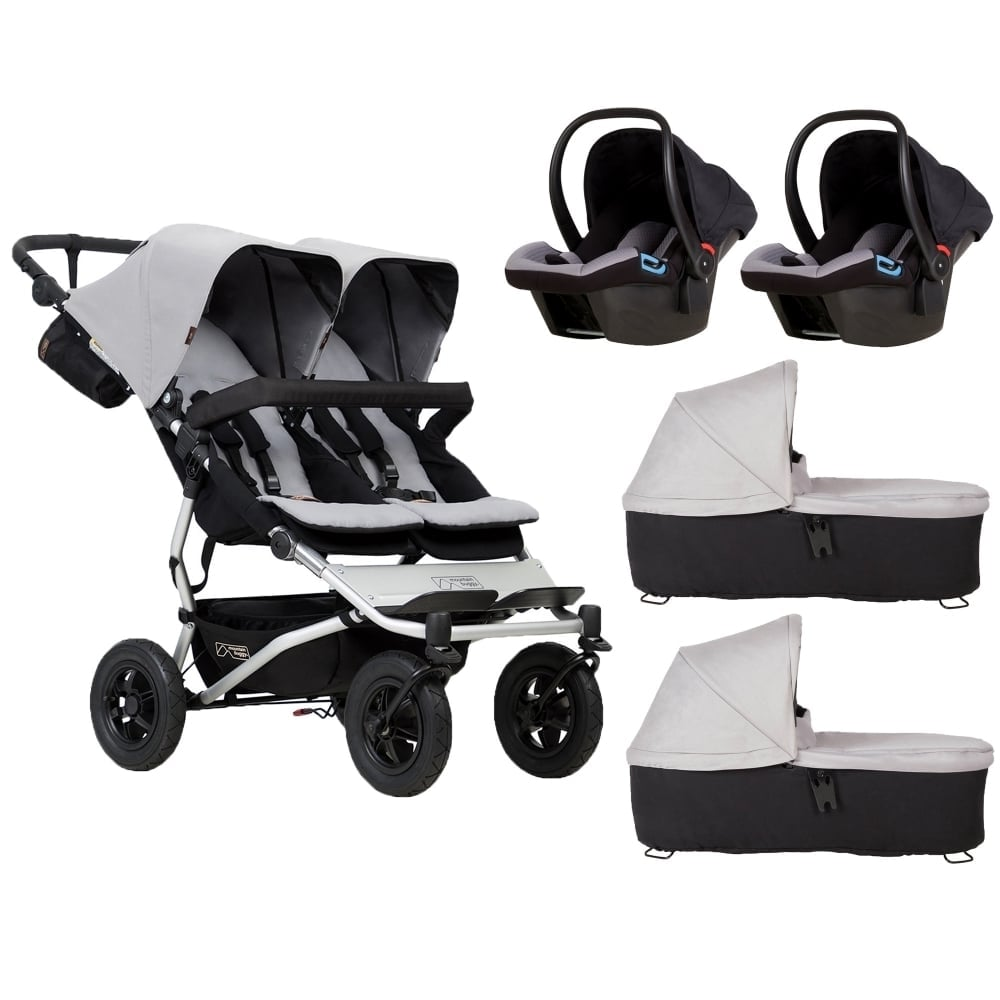 Toy Buggy With Car Seat Mountain Buggy Duet 2 Carrycots 2 Protect Car Seats Silver