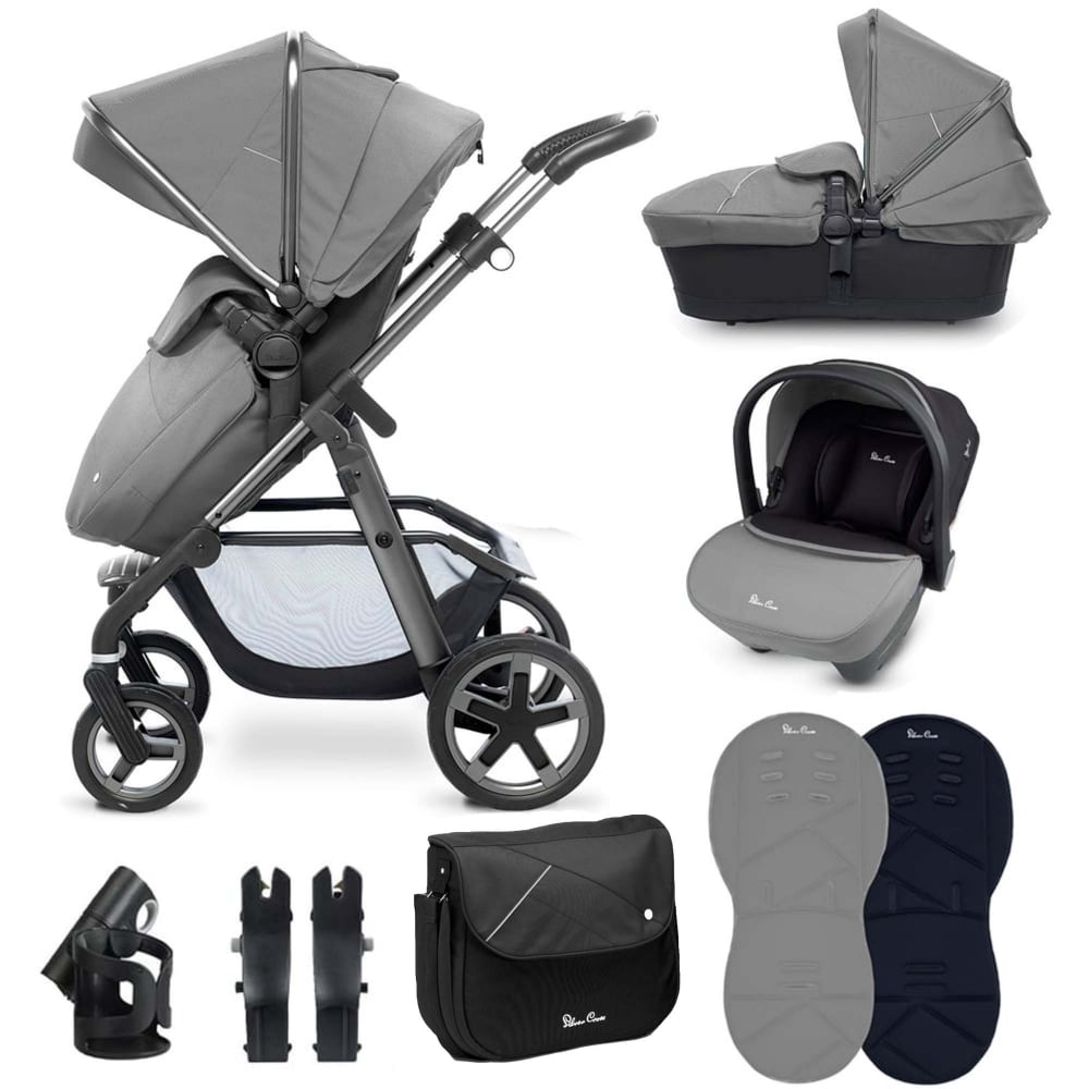 Silver Cross Pushchair Replacement Parts Silver Cross Silver Cross Pioneer 10 Piece Bundle Graphite Chassis Silver