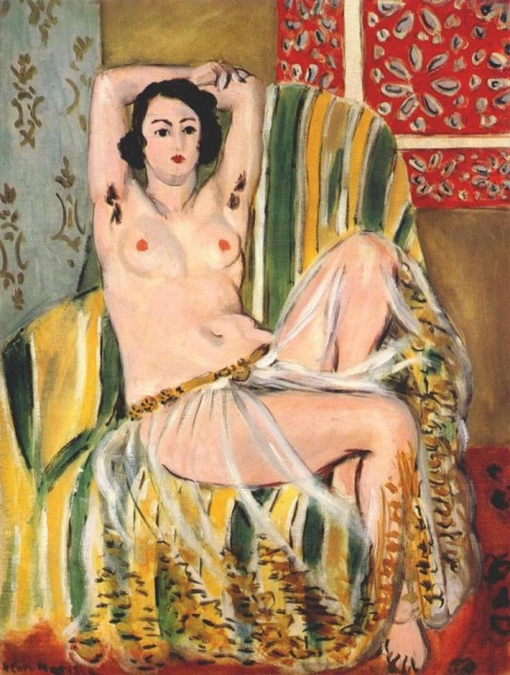 040175_Matisse_Seated Odalisque Arms Raised (Green Striped Armchair)