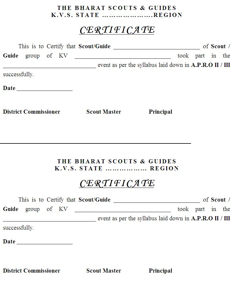 activity completion certificate K Ramasamy\u0027s Blog for KVS Scouts