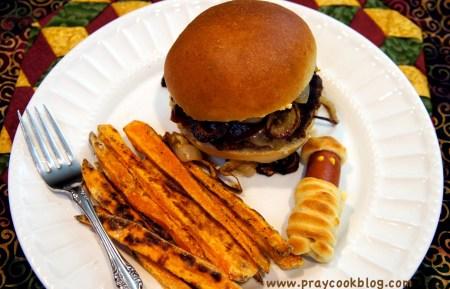 hamburger buns plated