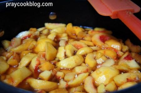 Peach Chutney cooking