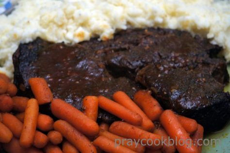 Pot Roast, roasted carrots, and mashed potatoes