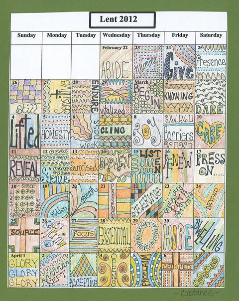 Lenten Calendar Prayers-2012 Connie Denninger Resized