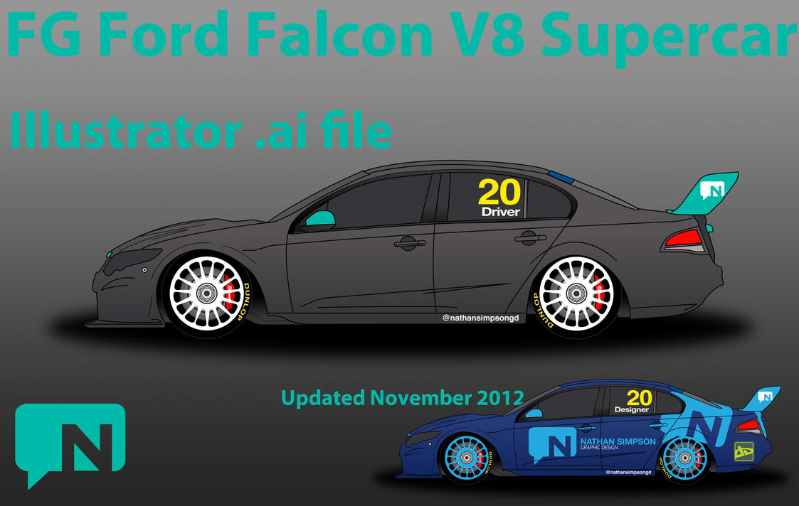 Wallpaper Super Cars Download Ford V8 Supercar Illustrator Template By Nathansimpson On