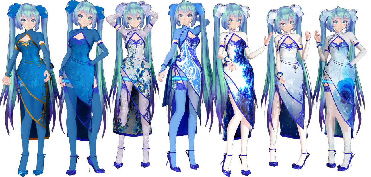 Anime Girl Chinese Dress Blue Wallpaper Tda Miku Canary China Dress Model Dl By Conejoblanca On