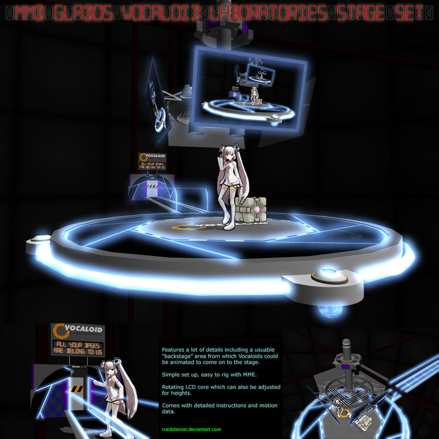 Neon Wallpaper 3d Mmd Glados Vocaloid Lab Stage Set By Trackdancer On