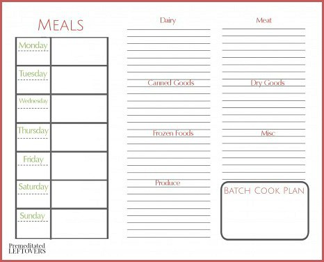 Free Printables from Premeditated Leftovers - printable weekly meal plan