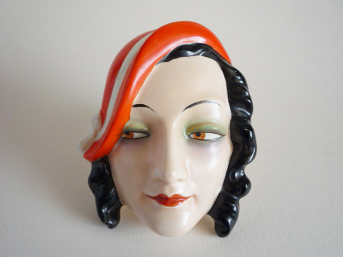 Model One W. Goebel Lady With Orange Hat Wall Mask Fx969 C1930 Sold