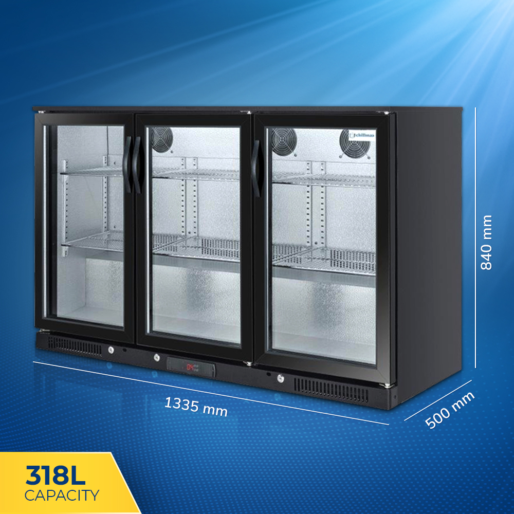Bar Fridges Brisbane Chillmax Bar Beer Fridge 3 Glass Door Black 318l Under Counter