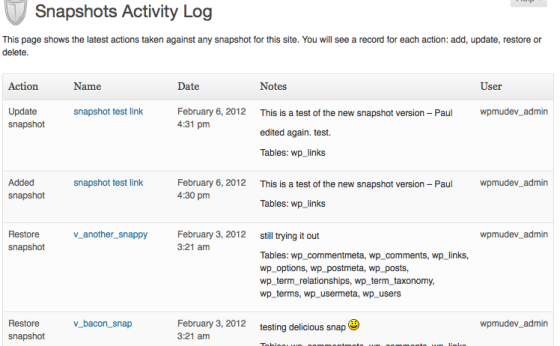 Backup activity log