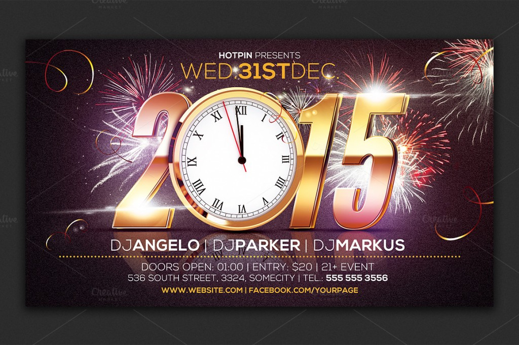 10 Best New Year flyers for 2015 - PremiumCoding - free new years eve flyer template