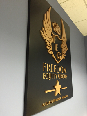 Dimensional Lobby Sign for Freedom Equity Group in Woodland Hills