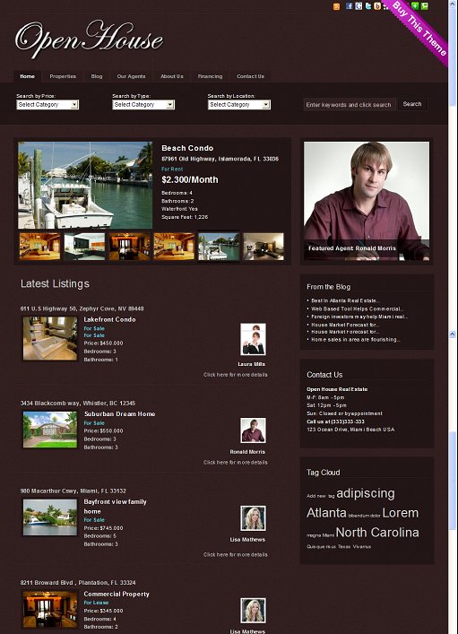 Gorilla Themes Open House Real Estate WordPress Theme For Agents and