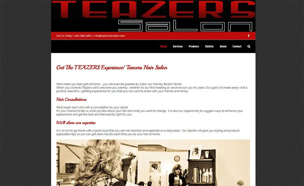 Salon Website Teazers Hair Salon Premium Websites, LLC