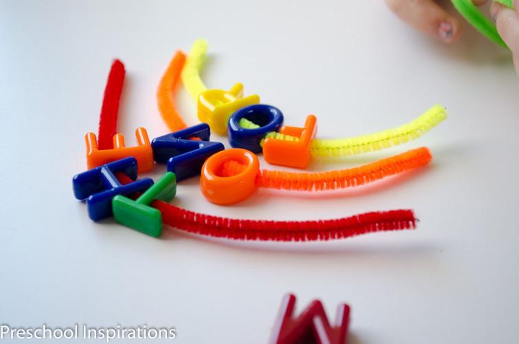 Rainbow Sight Word Lacing Busy Bag  by Preschool Inspirations-4