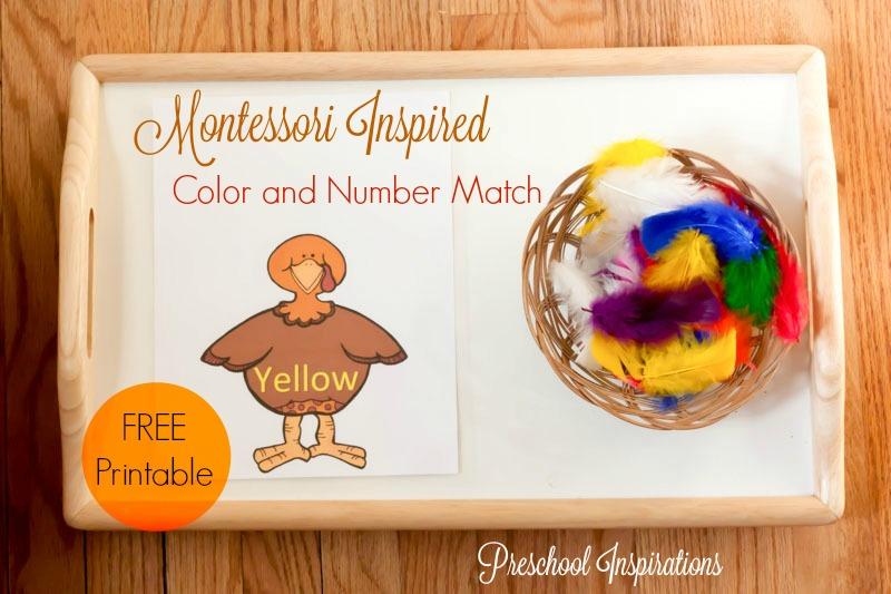 Turkey Color and Number Match Montessori Activity - Preschool