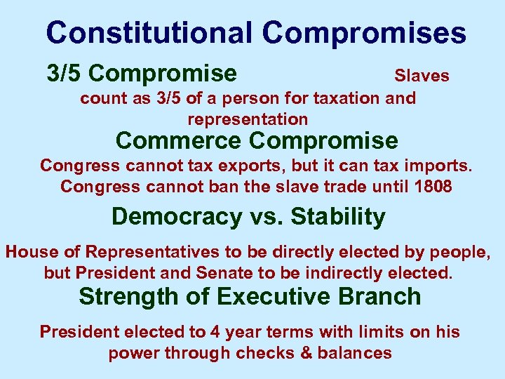 Characteristics of the Delegates to the Constitutional Convention