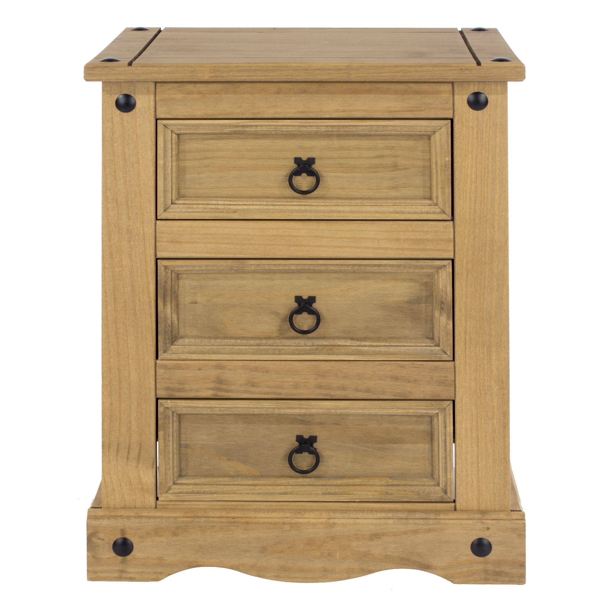 Premium Corona 3 Drawer Bedside Solid Pine Bedside Table With Three Drawers