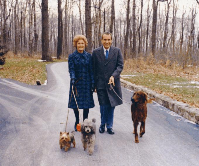 The Nixons walk their three dogs at Camp David, November 1973.