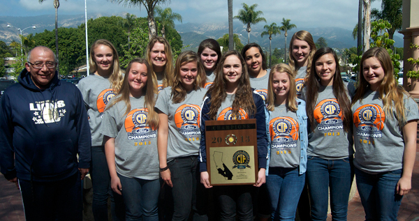Providence Hall's CIF champion girls basketball team attended Monday's press luncheon with CIF plaque in hand