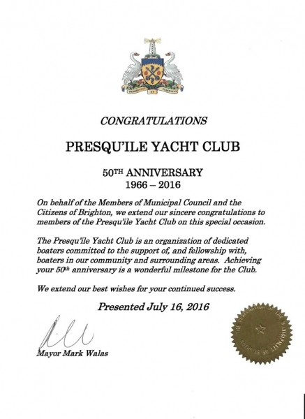 50th Congratulation Letters \u2013 Presquile Yacht Club