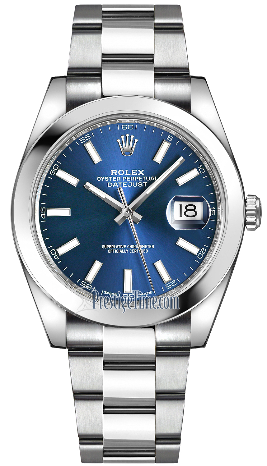 Steel Rolex Rolex Datejust 41mm Stainless Steel 126300 Blue Index Oyster