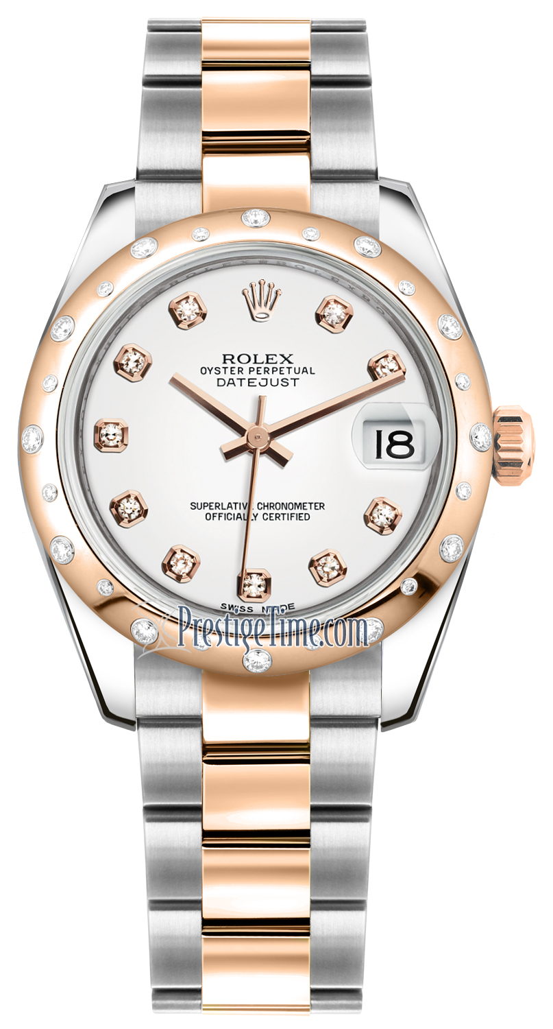 Rolex Oyster Perpetual Rose Gold Rolex Datejust 31mm Stainless Steel And Rose Gold 178341 White Diamond Oyster