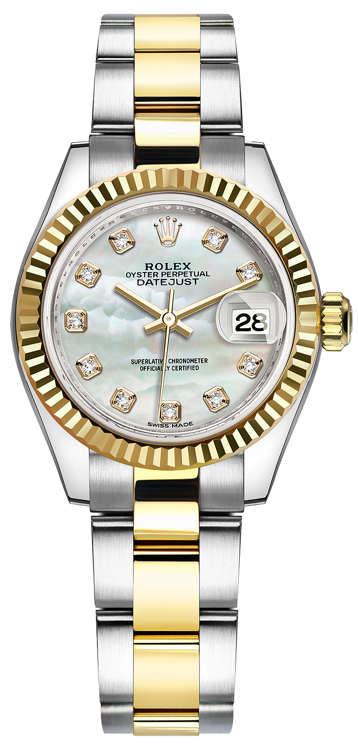 Rolex Ladies Watches Rolex Lady Datejust 28mm Stainless Steel And Yellow Gold 279173 Mop Diamond Oyster