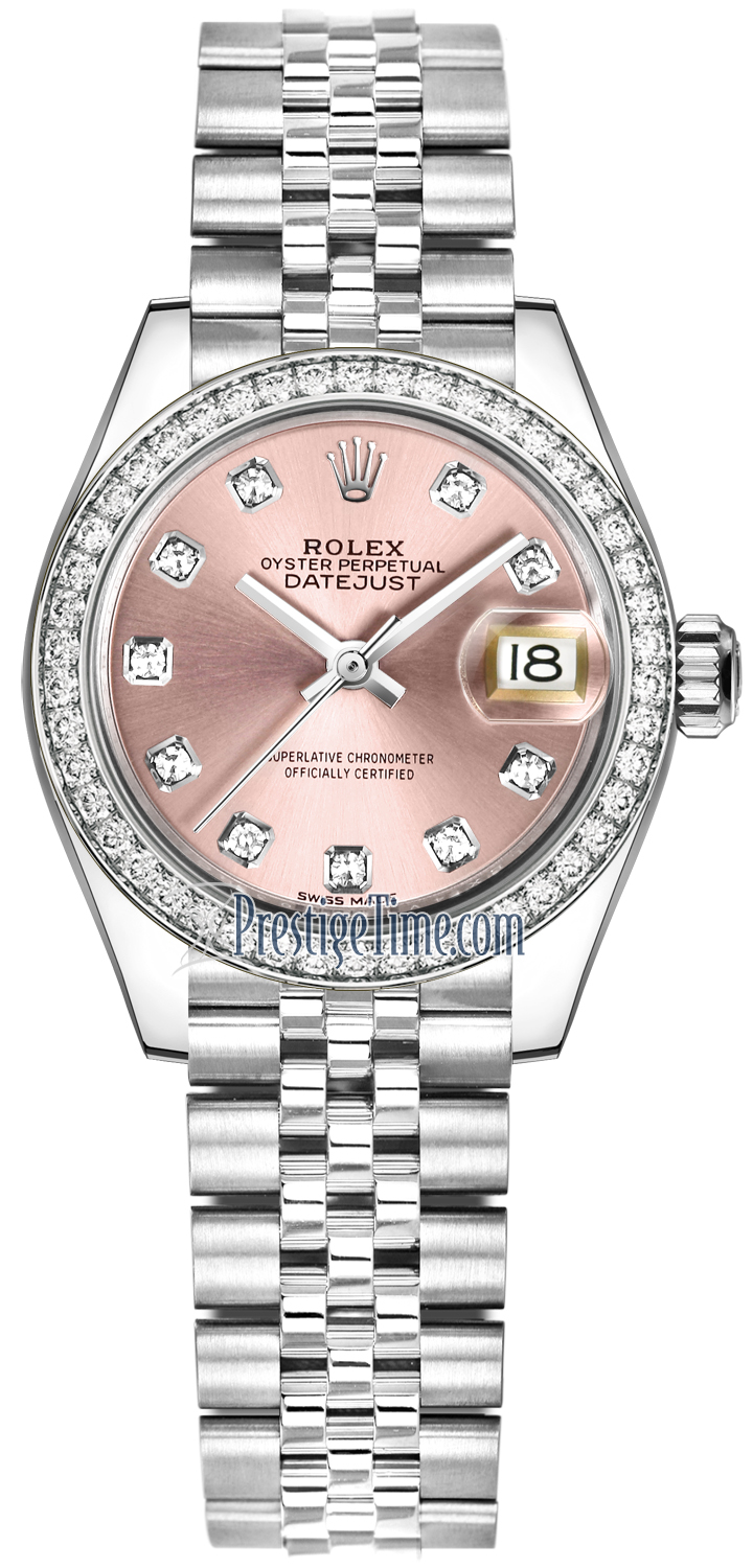 Steel Rolex Rolex Lady Datejust 28mm Stainless Steel 279384rbr Pink Diamond Jubilee
