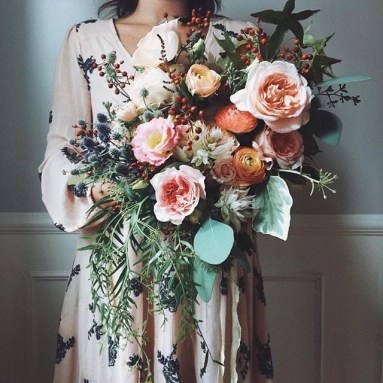 PEach+Toned+Wedding+Bouqet