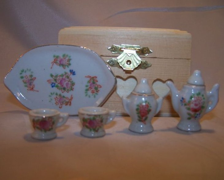 Tray Occupied Japan Miniature Floral Tea Set W Tray, Box