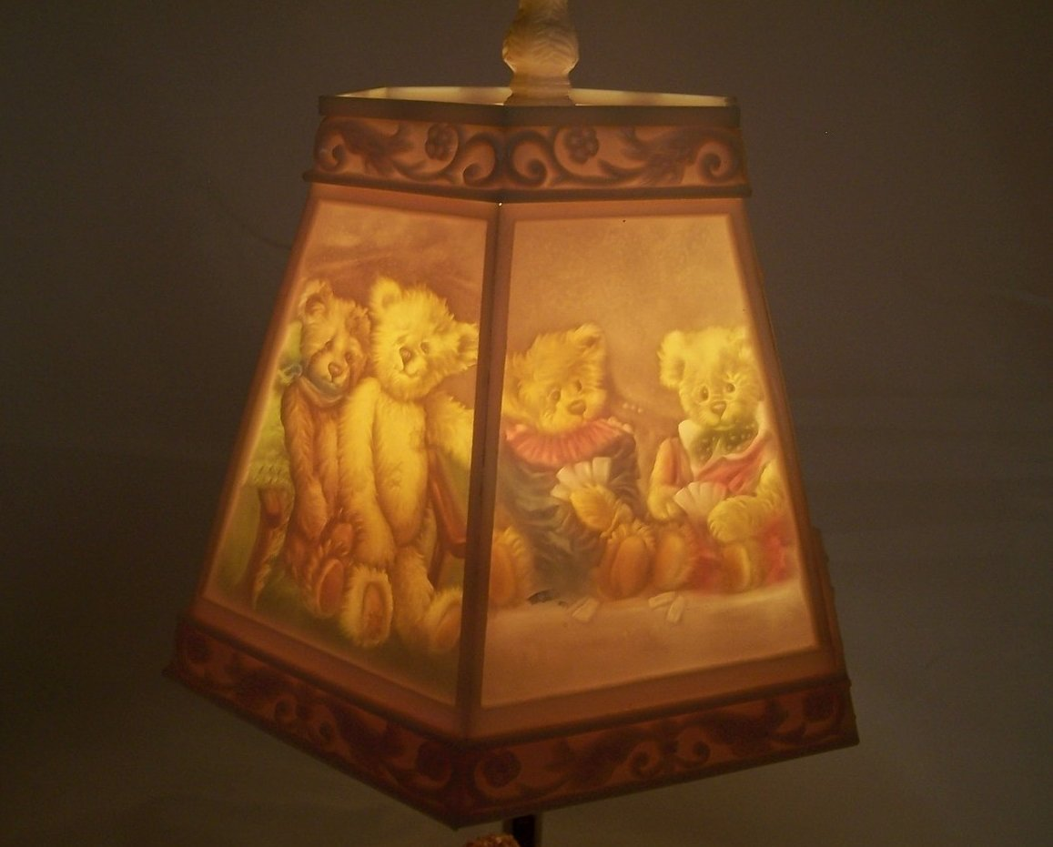 Lamp And Nightlight Teddy Bear Lamp W Bear Scene Shade Nursery Or Desk