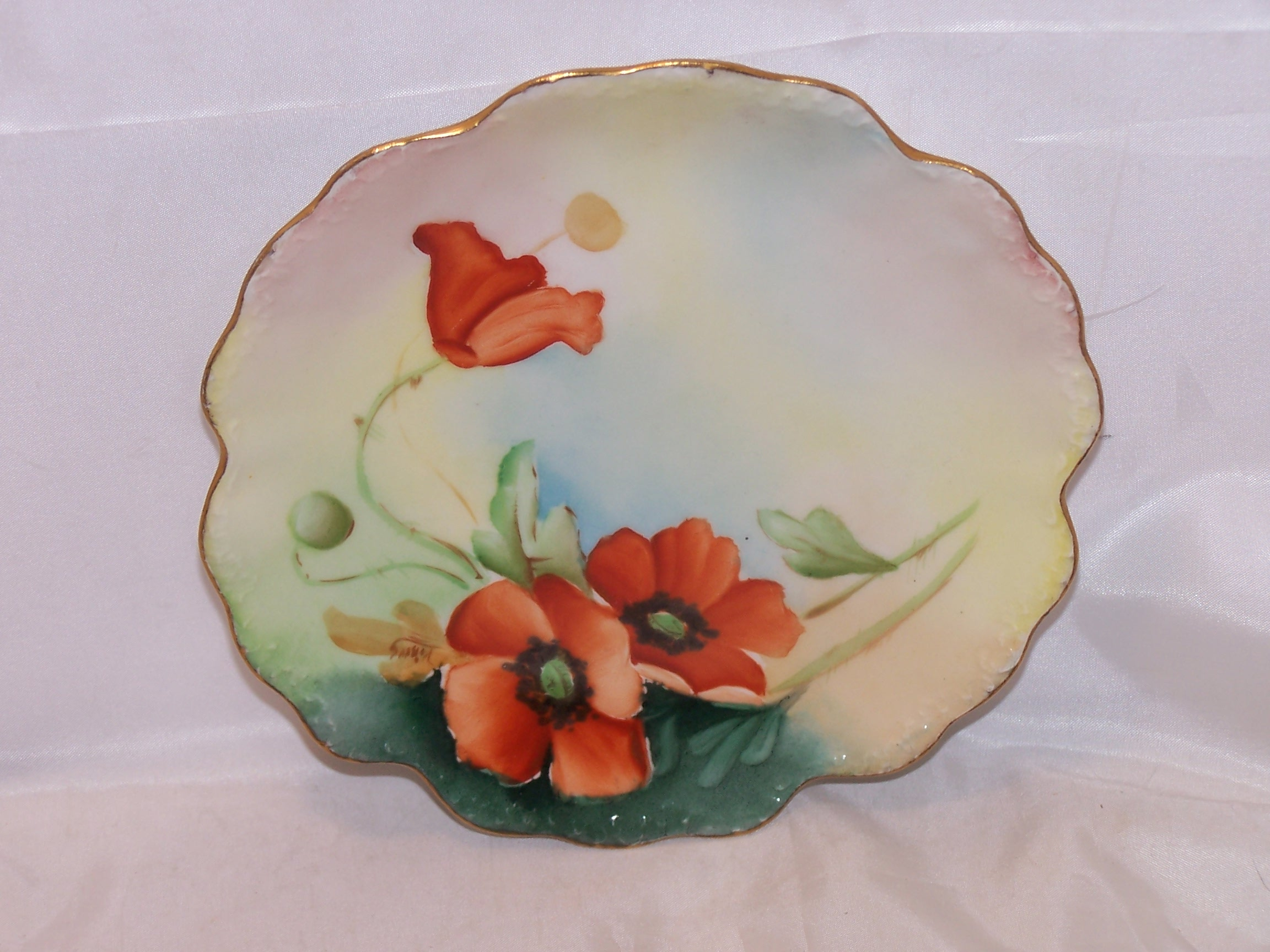 Deep Plate Elite France Poppy Plate, Limoges Porcelain, C 1896 To 1920