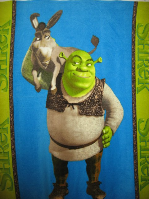 "Day Bed Shrek Donkey Licensed Handmade Fleece Blanket 48""x58"" Or"