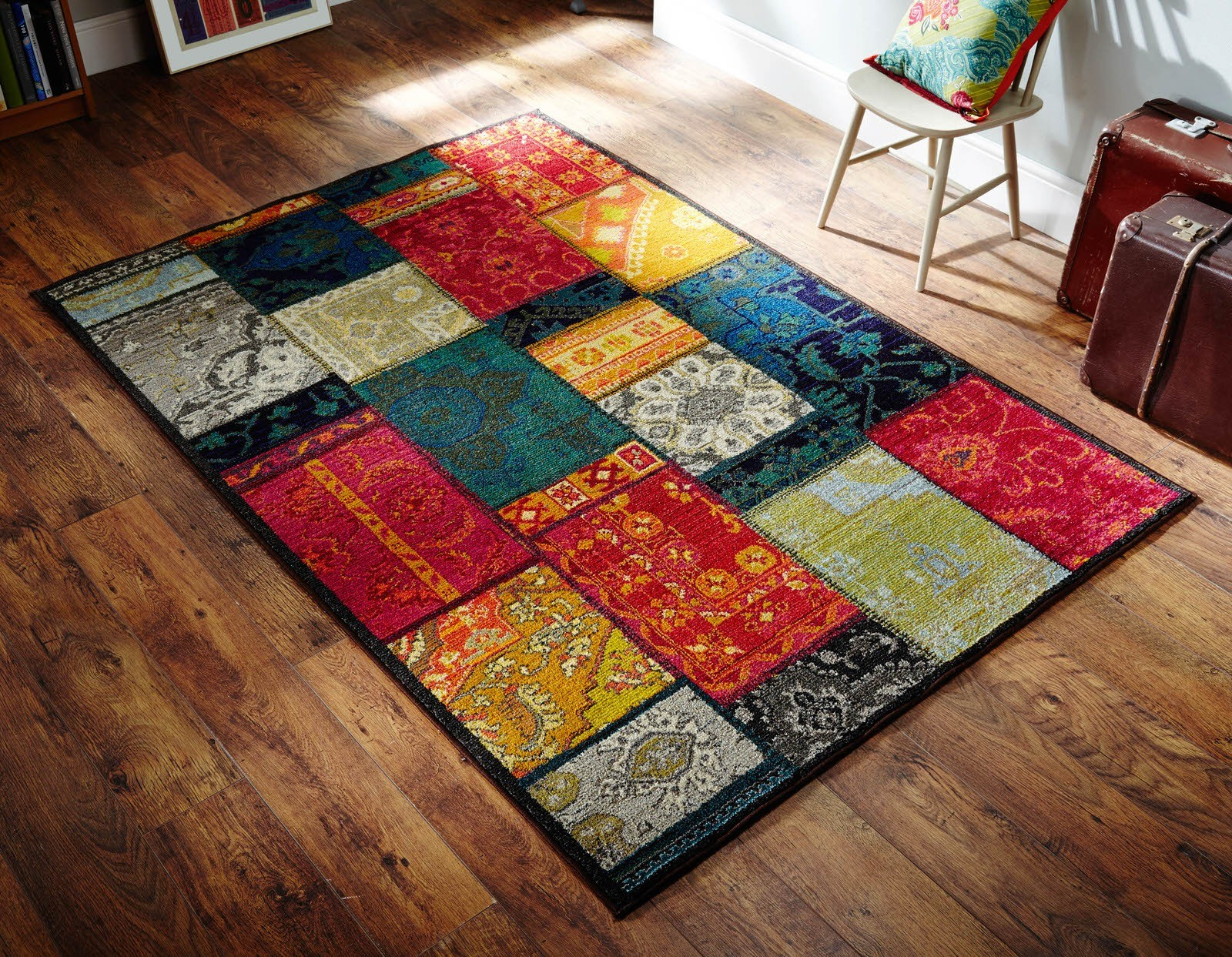 Teppich Shaggy Kaleidoscope Multi Coloured Patchwork Rug - 9z
