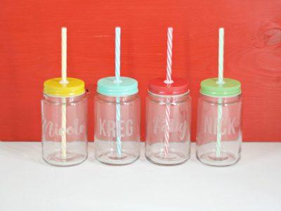 DIY Etched Jar Drinking Glasses