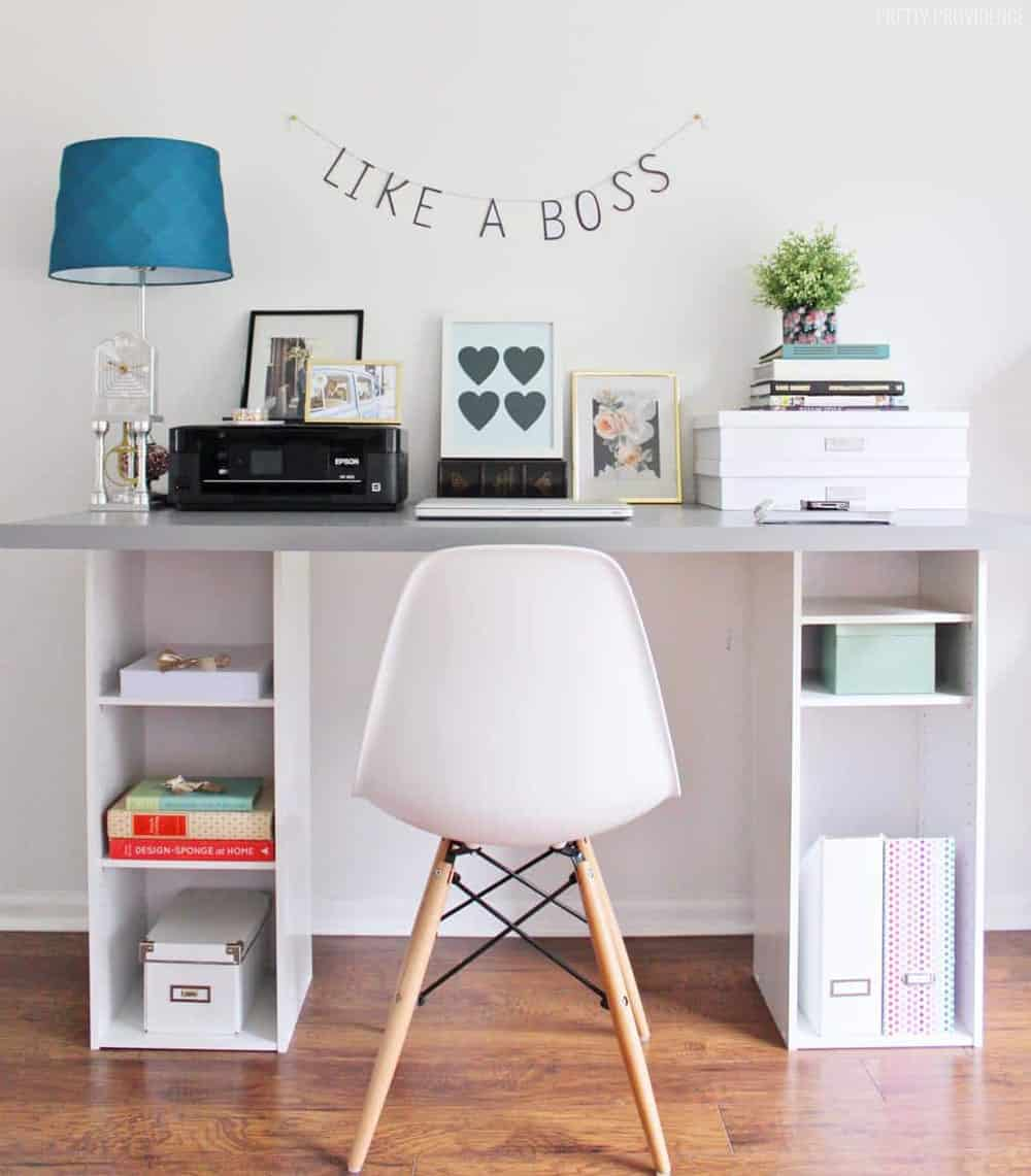 Ikea Hacks Ikea Hack Desk With Storage Shelves Pretty Providence