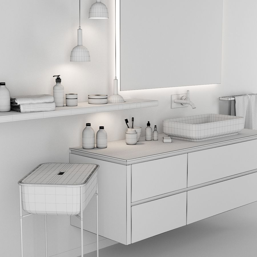 Bathroom Furniture Set Scavolini Qi 3d Model 8 Fbx Obj Max Free3d