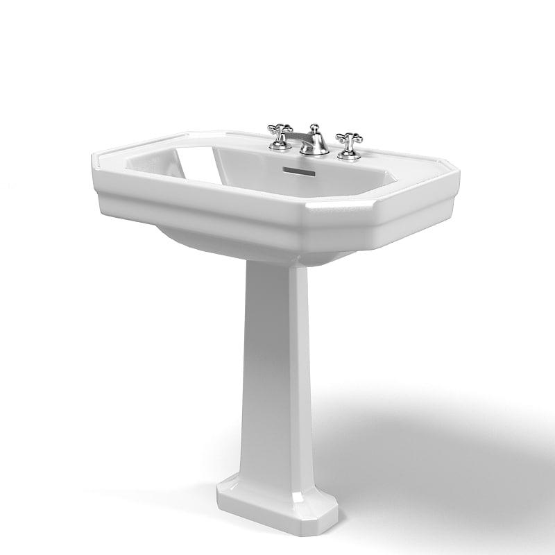 Duravit 1930 modern classic traditional pedestal sink lavatory jpg