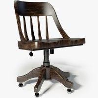 3d restoration hardware keating desk chair