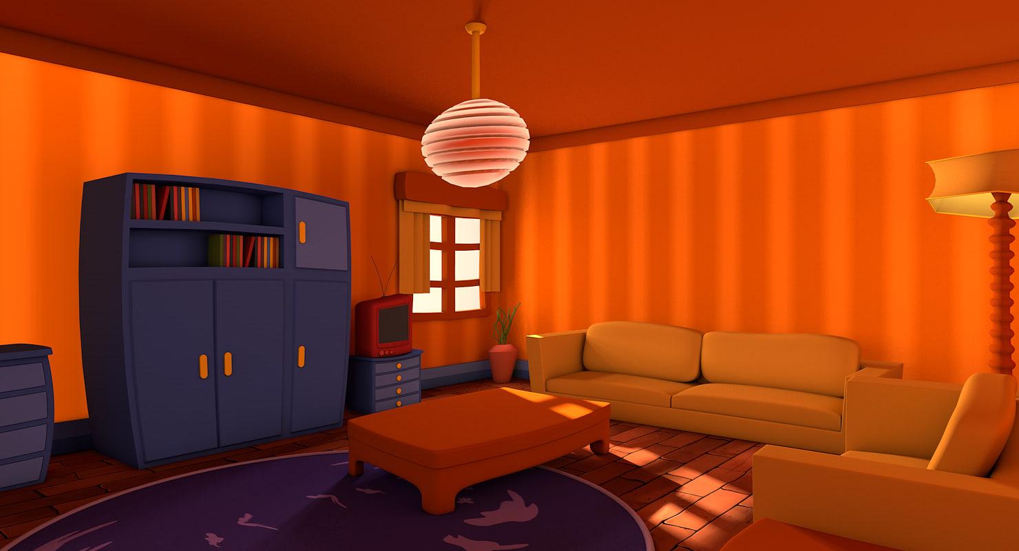 4d Living Room Design 3d c4d living cartoon room