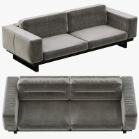 restoration hardware durrell leather sofa 3d obj