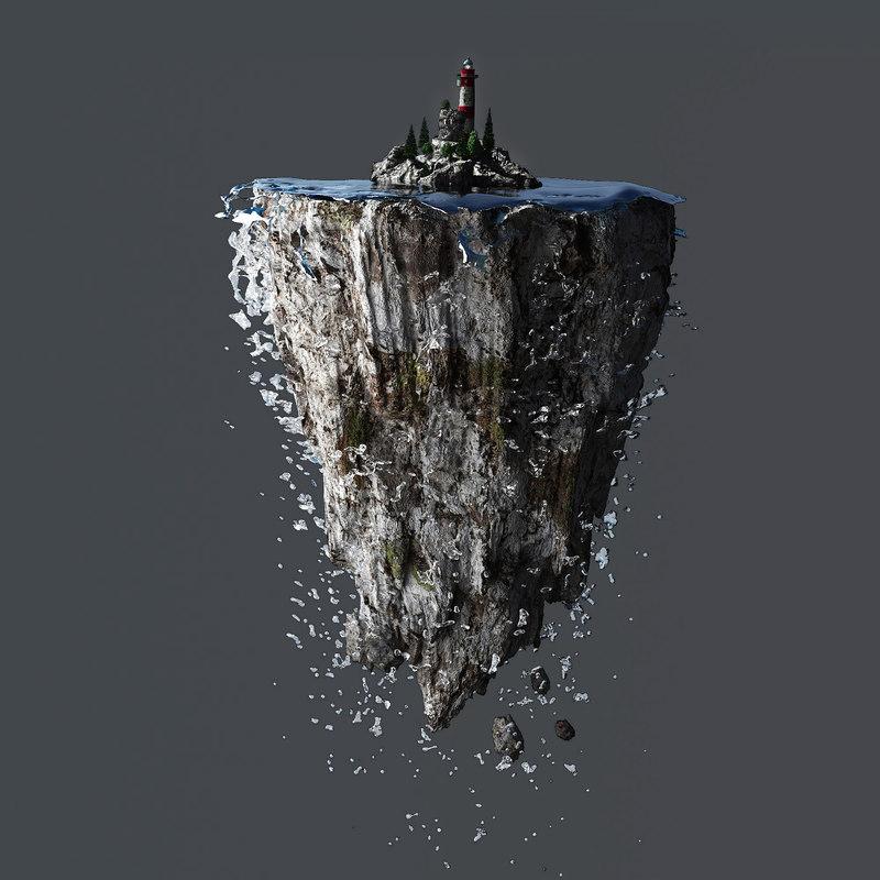 Lighthouse 3d Live Wallpaper 3d Lighthouse Floating Island Model