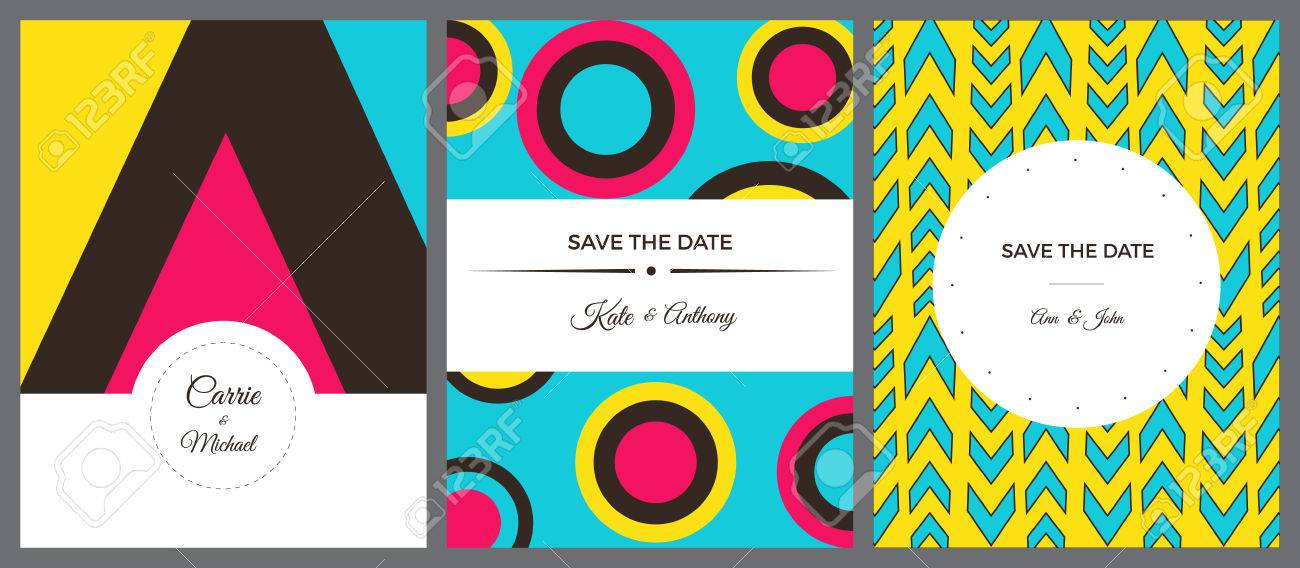 Set Of Colorful Invitation Cards With Geaometric Forms And Very